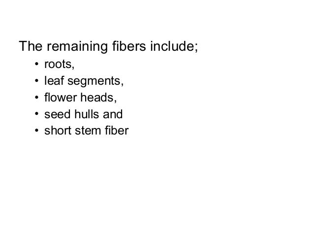 The remaining fibers include; • • • • •  roots, leaf segments, flower heads, seed hulls and short stem fiber