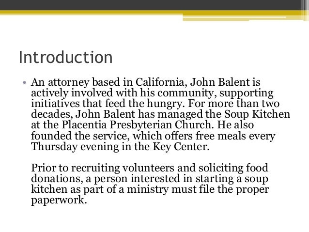 Paperwork Required To Start A Soup Kitchen By John Balent; 2.