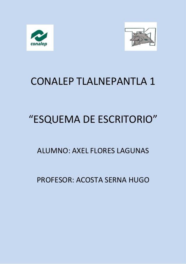 "CONALEP TLALNEPANTLA 1 ""ESQUEMA DE ESCRITORIO"" ALUMNO: AXEL FLORES LAGUNAS PROFESOR: ACOSTA SERNA HUGO"
