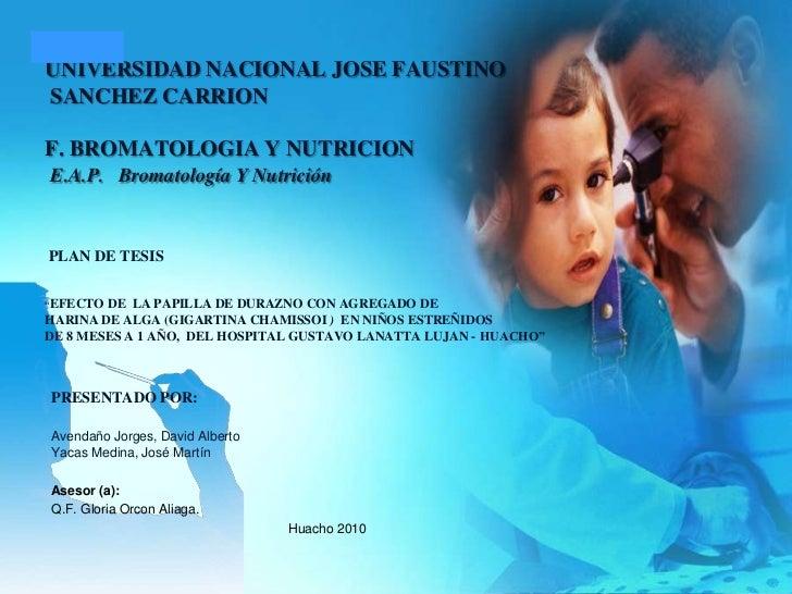 UNIVERSIDAD NACIONAL JOSE FAUSTINO SANCHEZ CARRIONF. BROMATOLOGIA Y NUTRICIONE.A.P.Bromatología Y NutriciónPLAN DE TES...