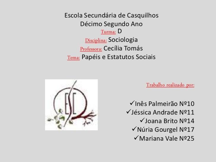 Escola Secundária de Casquilhos      Décimo Segundo Ano                Turma: D        Disciplina: Sociologia      Profess...