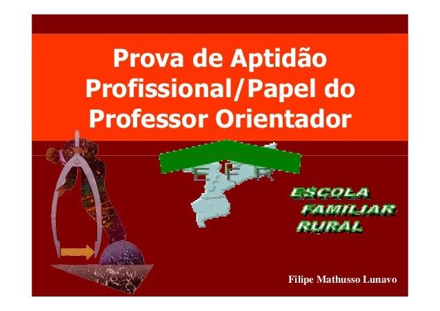 Prova de Aptidão  Profissional/Papel do  Professor Orientador  Filipe Mathusso Lunavo