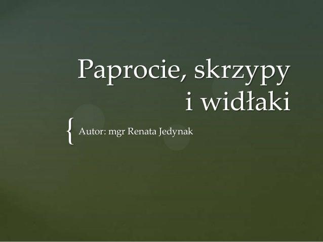 Paprocie, skrzypy i widłaki  {  Autor: mgr Renata Jedynak