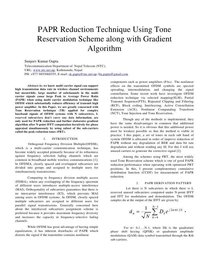 PAPR Reduction Technique Using Tone                Reservation Scheme along with Gradient                              Alg...