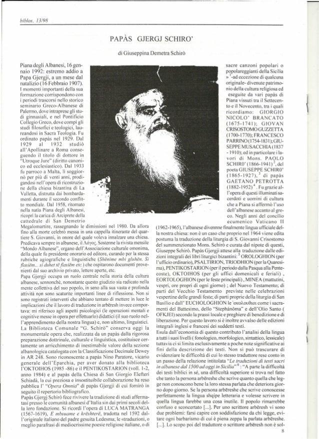 bib/os, J 3/98PAPAs GJERGJ SCHIROdi Giuseppina Demetra SchiroPiana degli Albanesi, ]6 gen-naio 1992: estremo addio aPapa G...