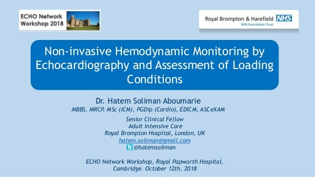 Non-invasive Hemodynamic Monitoring by Echocardiography and Assessment of Loading Conditions Senior Clinical Fellow Adult ...