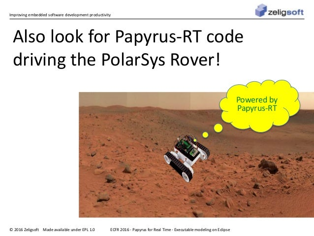 Improving embedded software development productivity © 2016 Zeligsoft Made available under EPL 1.0 ECFR 2016 - Papyrus for...