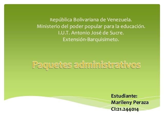 República Bolivariana de Venezuela. Ministerio del poder popular para la educación. I.U.T. Antonio José de Sucre. Extensió...