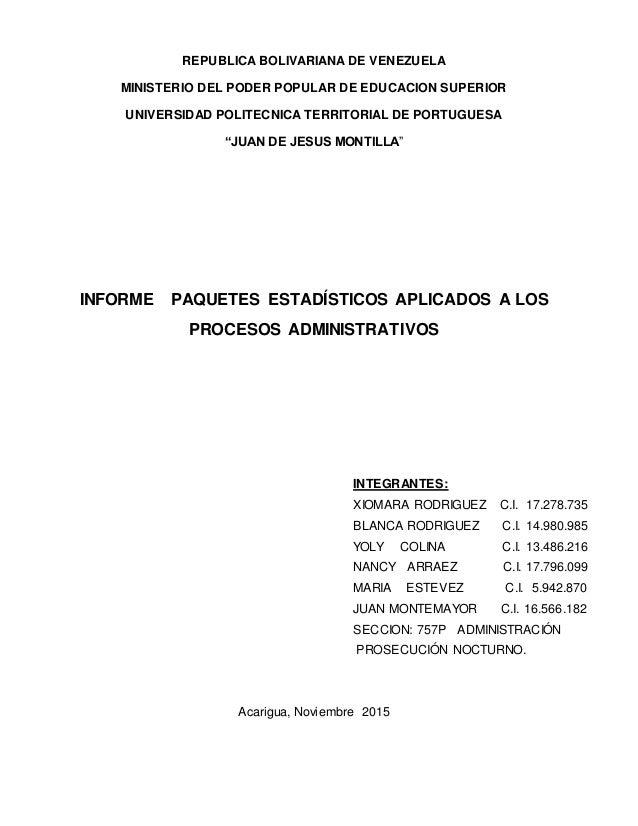 REPUBLICA BOLIVARIANA DE VENEZUELA MINISTERIO DEL PODER POPULAR DE EDUCACION SUPERIOR UNIVERSIDAD POLITECNICA TERRITORIAL ...