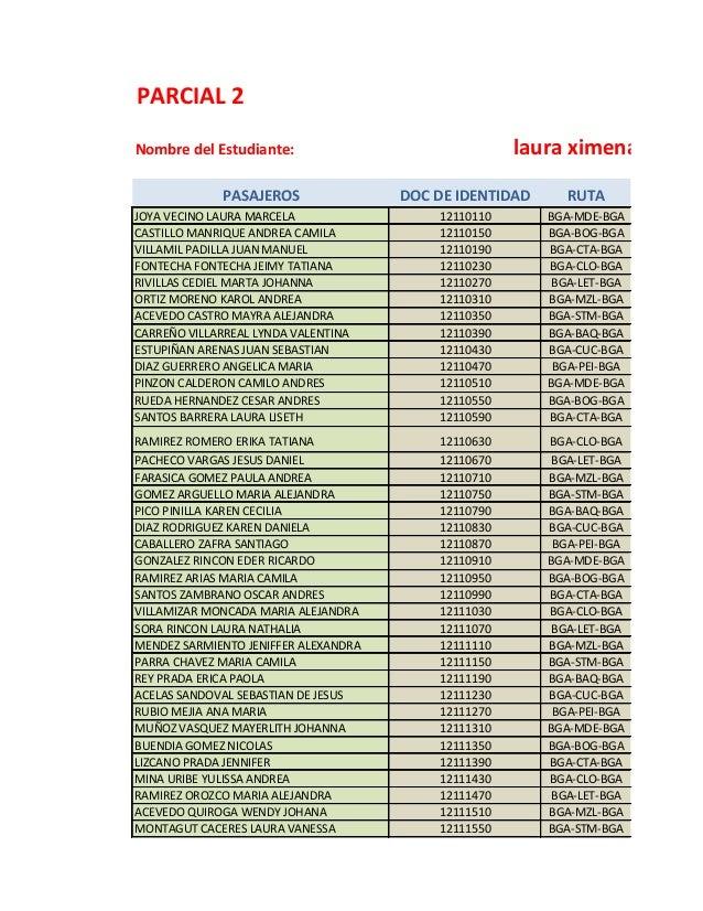 PARCIAL 2Nombre del Estudiante:PASAJEROS DOC DE IDENTIDAD RUTAJOYA VECINO LAURA MARCELA 12110110 BGA-MDE-BGACASTILLO MANRI...