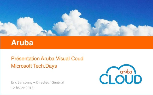 ArubaPrésentation Aruba Visual CoudMicrosoft Tech.DaysEric Sansonny – Directeur Général12 févier 2013