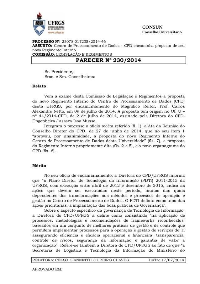 Par230 14 - novo regimento cpd