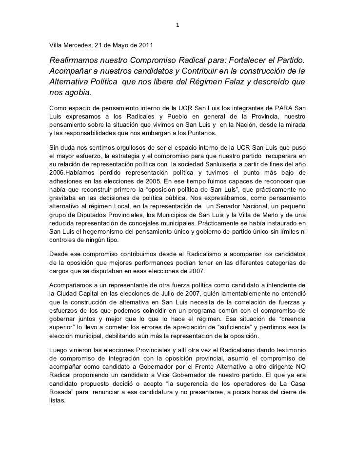 1Villa Mercedes, 21 de Mayo de 2011Reafirmamos nuestro Compromiso Radical para: Fortalecer el Partido.Acompañar a nuestros...