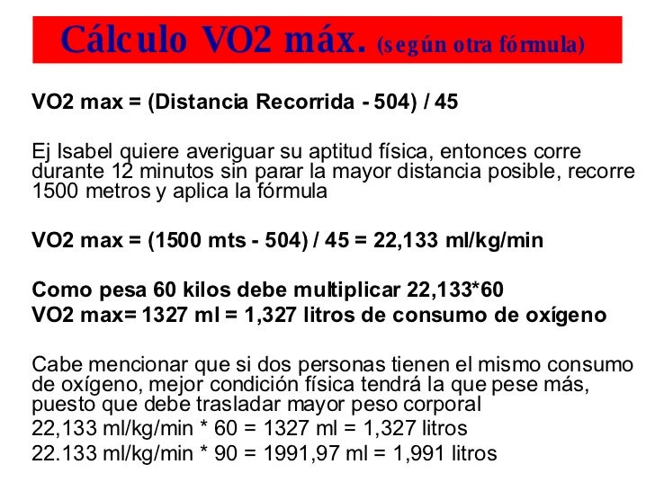 how to find vo2max formula