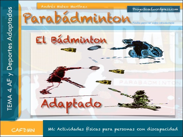TEMA 4: AF y Deportes Adaptados  Andrés Mateo Martínez  Parabádminton  CAFDMN  Proyectosef.wordpress.com  Pincha para ver ...