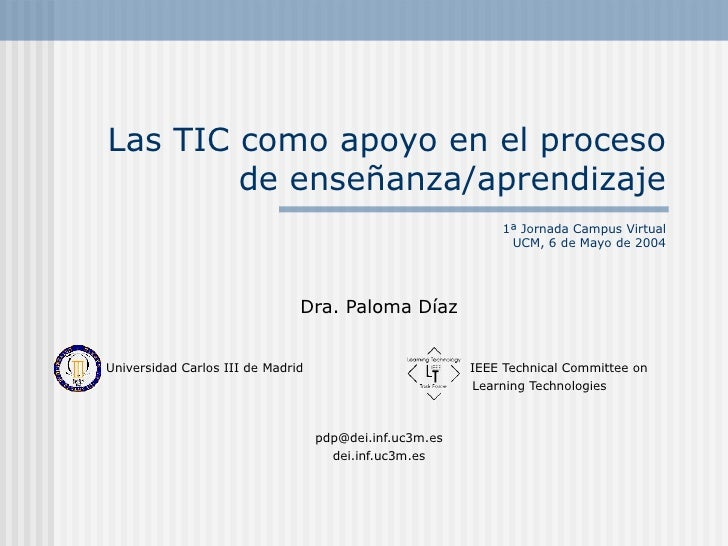 Las TIC como apoyo en el proceso        de enseñanza/aprendizaje                                                          ...