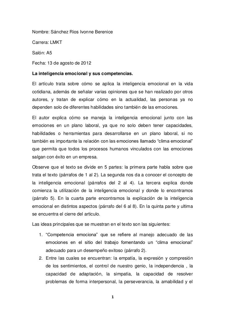 Nombre: Sánchez Rios Ivonne BereniceCarrera: LMKTSalón: A5Fecha: 13 de agosto de 2012La inteligencia emocional y sus compe...