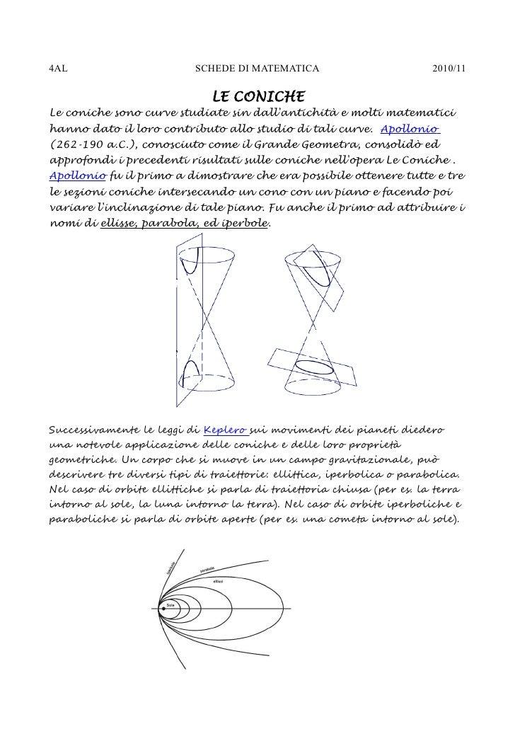 4AL                         SCHEDE DI MATEMATICA                         2010/11                                 LE CONICH...
