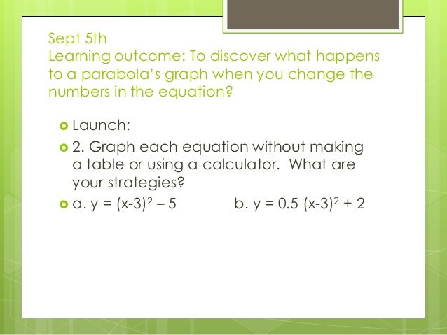 Sept 5th Learning outcome: To discover what happens to a parabola's graph when you change the numbers in the equation?  L...