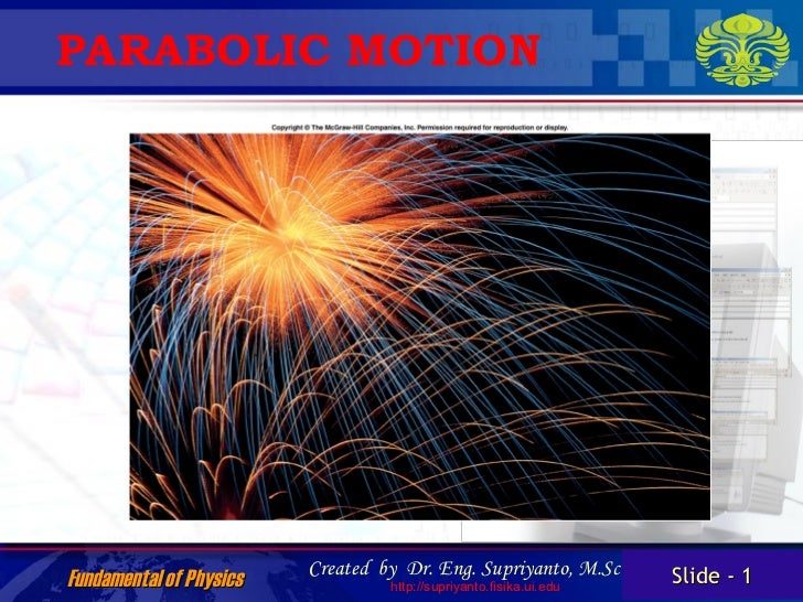 PARABOLIC MOTION                         Created by Dr. Eng. Supriyanto, M.Sc       Slide - 1Fundamental of Physics       ...