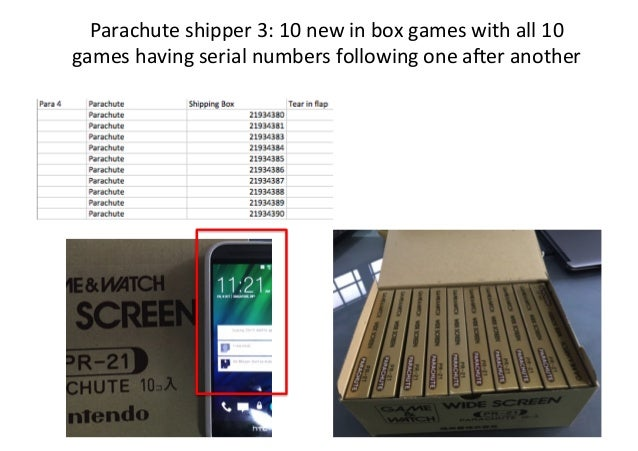 Parachute  shipper  3:  10  new  in  box  games  with  all  10   games  having  serial  number...