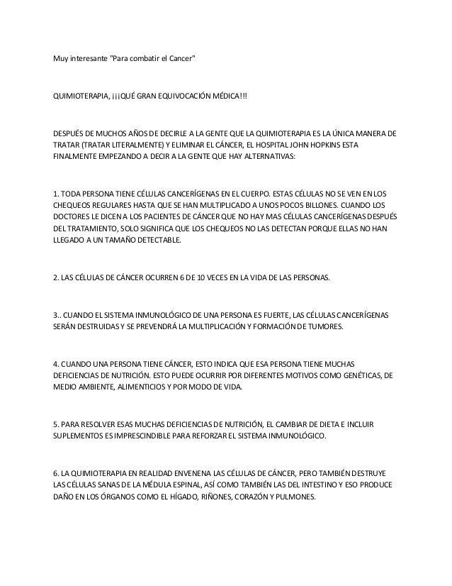 """Muy interesante """"Para combatir el Cancer"""" QUIMIOTERAPIA, ¡¡¡QUÉ GRAN EQUIVOCACIÓN MÉDICA!!! DESPUÉS DE MUCHOS AÑOS DE DECI..."""
