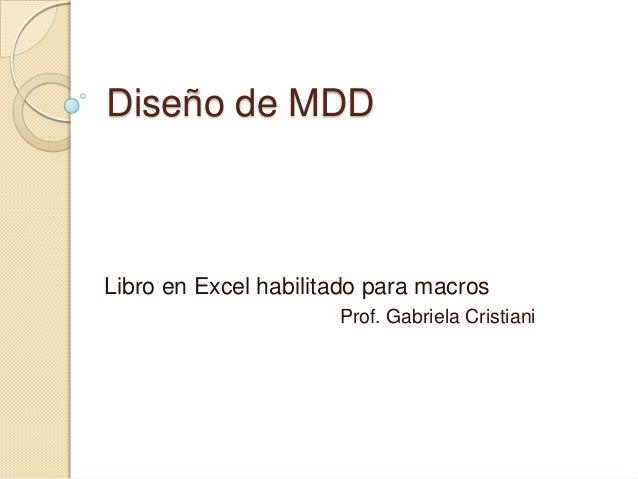 Diseño de MDDLibro en Excel habilitado para macros                      Prof. Gabriela Cristiani