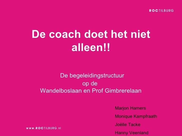De begeleidingstructuur  op de  Wandelboslaan en Prof Gimbrerelaan  De coach doet het niet alleen!! Marjon Hamers Monique ...