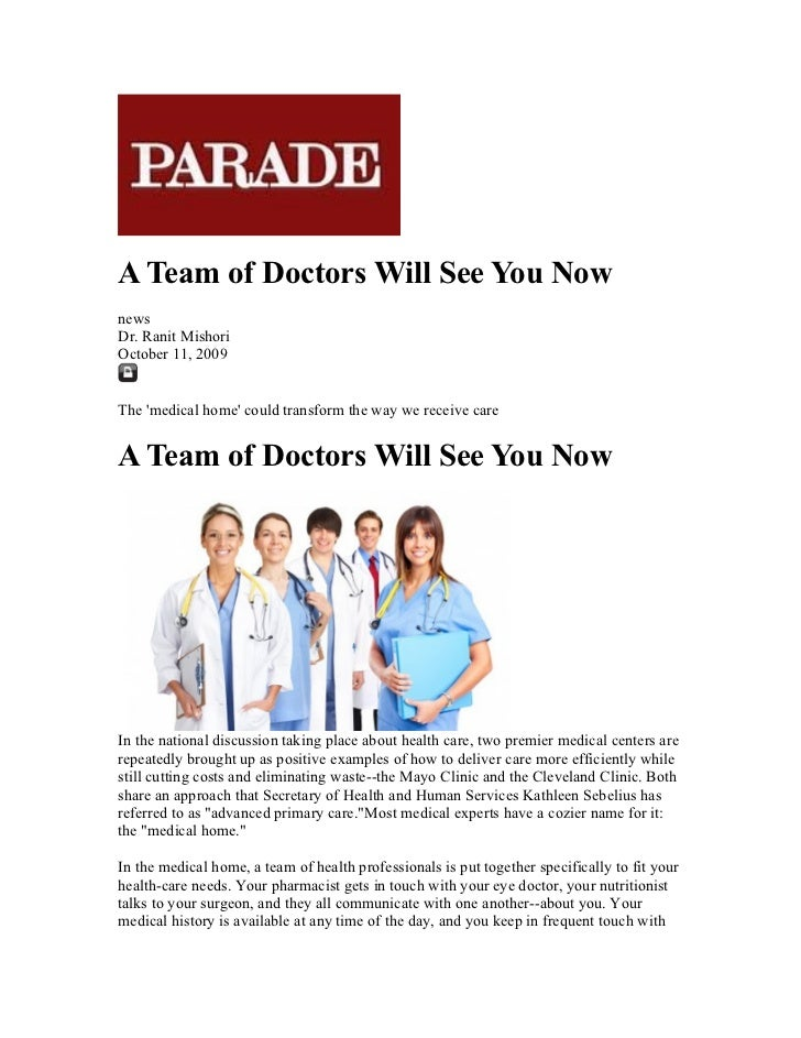 Parade a team of doctors will see you now