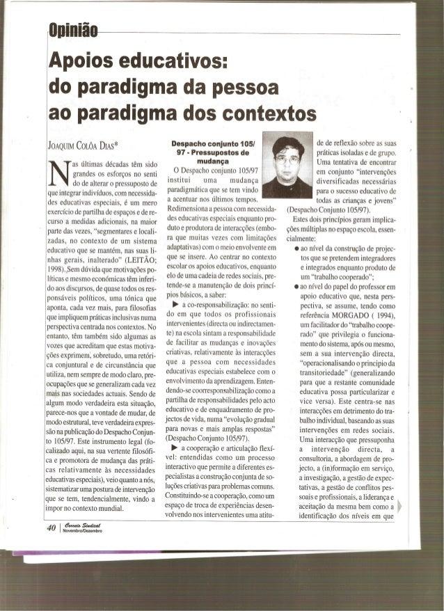 Apoios Educativos: Do Paradigma da Pessoa ao Paradigma dos Contextos