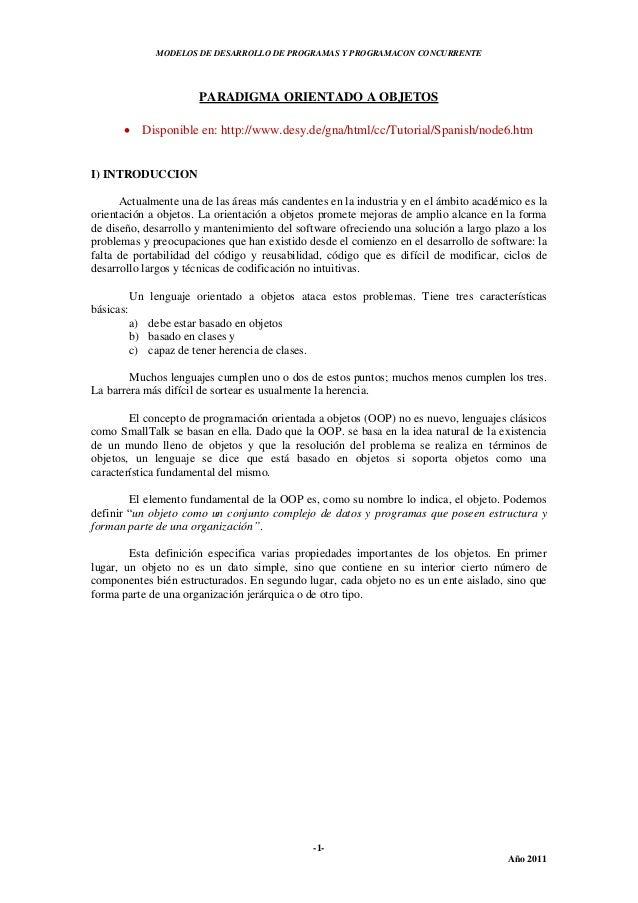 MODELOS DE DESARROLLO DE PROGRAMAS Y PROGRAMACON CONCURRENTE-1-Año 2011PARADIGMA ORIENTADO A OBJETOS Disponible en: http:...