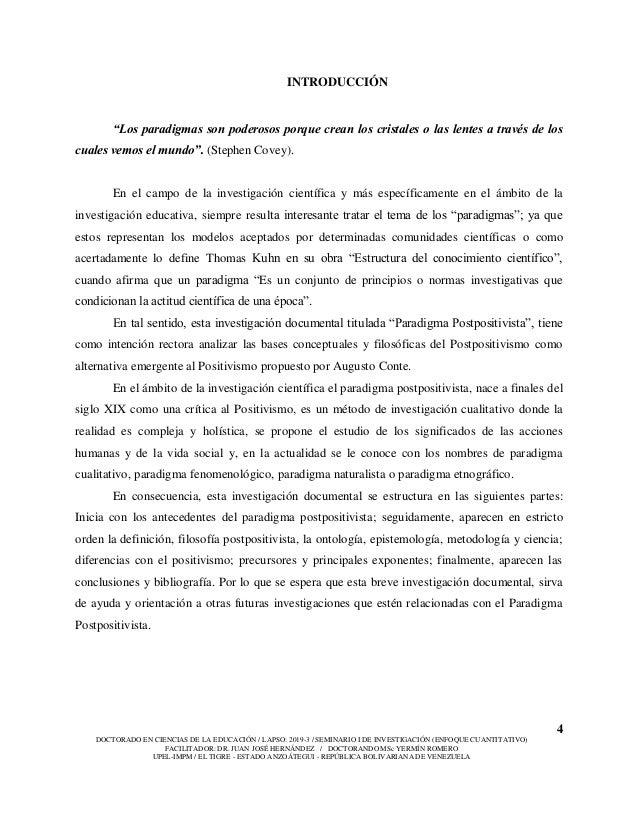 4 DOCTORADO EN CIENCIAS DE LA EDUCACIÓN / LAPSO: 2019-3 / SEMINARIO I DE INVESTIGACIÓN (ENFOQUE CUANTITATIVO) FACILITADOR:...