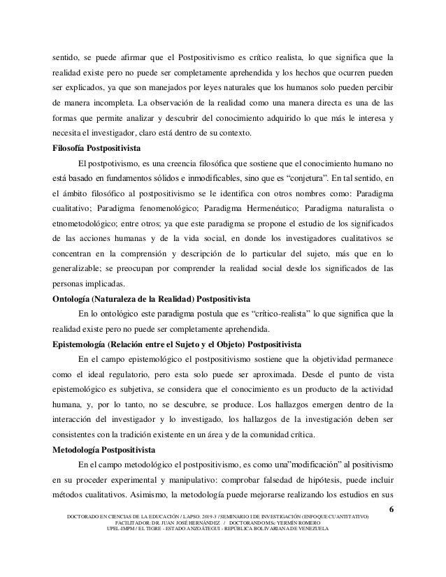 6 DOCTORADO EN CIENCIAS DE LA EDUCACIÓN / LAPSO: 2019-3 / SEMINARIO I DE INVESTIGACIÓN (ENFOQUE CUANTITATIVO) FACILITADOR:...