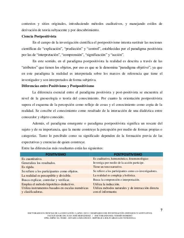 7 DOCTORADO EN CIENCIAS DE LA EDUCACIÓN / LAPSO: 2019-3 / SEMINARIO I DE INVESTIGACIÓN (ENFOQUE CUANTITATIVO) FACILITADOR:...