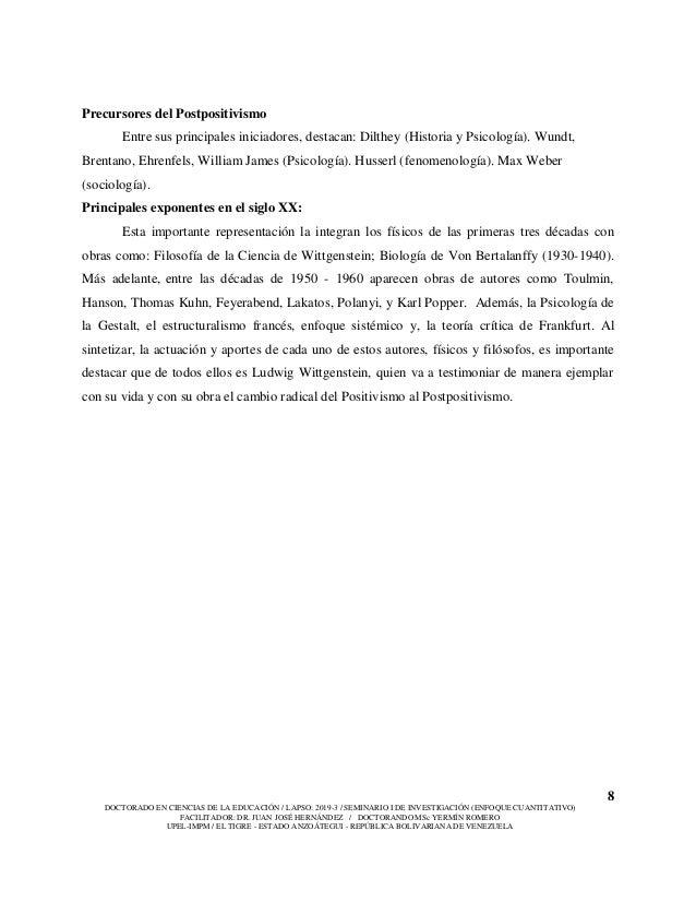 8 DOCTORADO EN CIENCIAS DE LA EDUCACIÓN / LAPSO: 2019-3 / SEMINARIO I DE INVESTIGACIÓN (ENFOQUE CUANTITATIVO) FACILITADOR:...