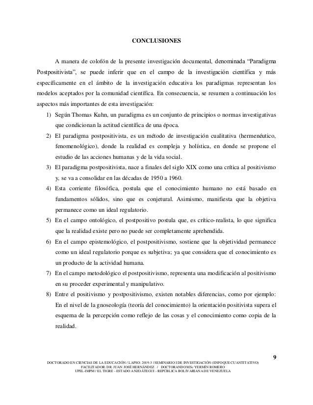 9 DOCTORADO EN CIENCIAS DE LA EDUCACIÓN / LAPSO: 2019-3 / SEMINARIO I DE INVESTIGACIÓN (ENFOQUE CUANTITATIVO) FACILITADOR:...
