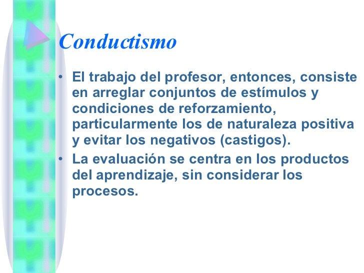 Conductismo <ul><li>El trabajo del profesor, entonces, consiste en arreglar conjuntos de estímulos y condiciones de reforz...