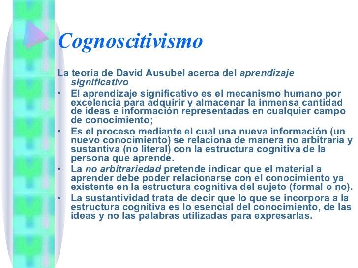 Cognoscitivismo <ul><li>La teoría de David Ausubel acerca del  aprendizaje significativo </li></ul><ul><li>El aprendizaje ...