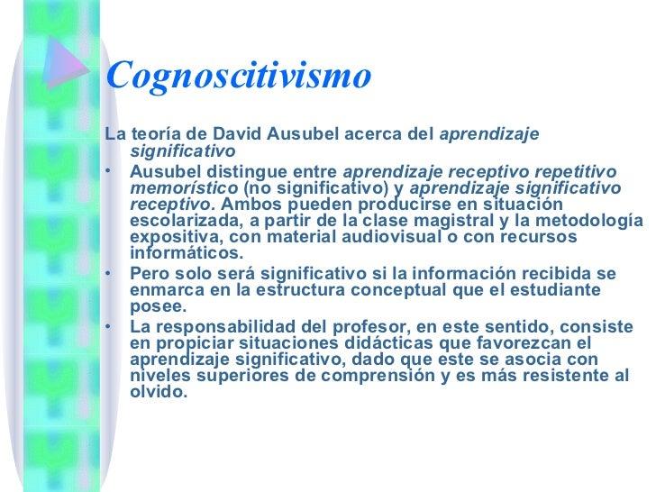 Cognoscitivismo <ul><li>La teoría de David Ausubel acerca del  aprendizaje significativo </li></ul><ul><li>Ausubel disting...