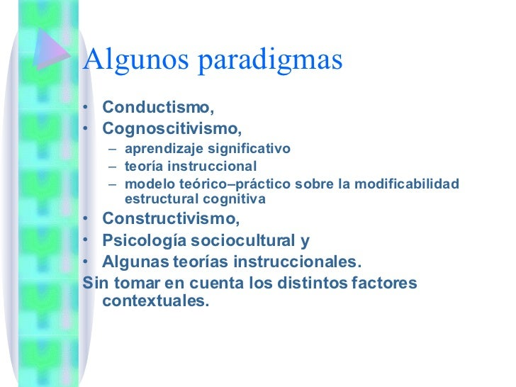 Algunos paradigmas <ul><li>Conductismo,  </li></ul><ul><li>Cognoscitivismo,  </li></ul><ul><ul><li>aprendizaje significati...