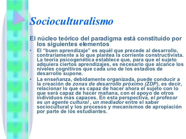 Socioculturalismo <ul><li>El núcleo teórico del paradigma está constituido por los siguientes elementos </li></ul><ul><li>...