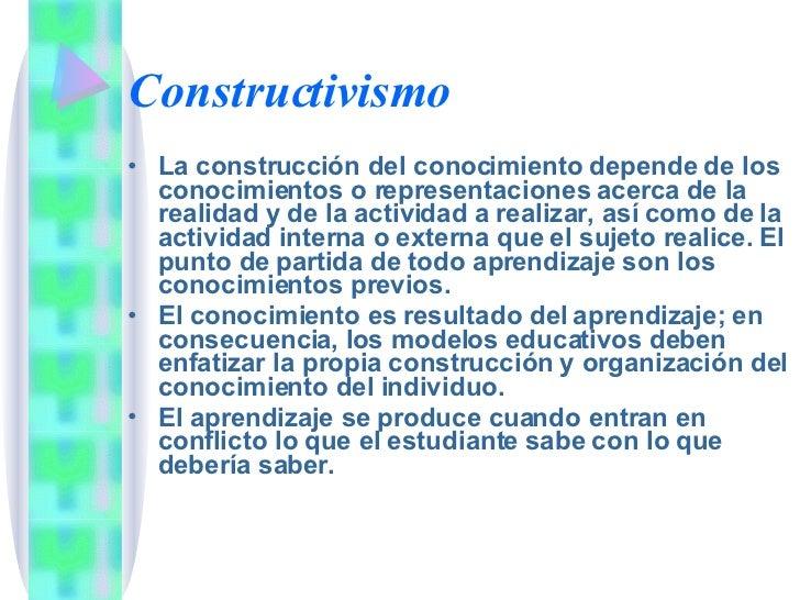 Constructivismo <ul><li>La construcción del conocimiento depende de los conocimientos o representaciones acerca de la real...