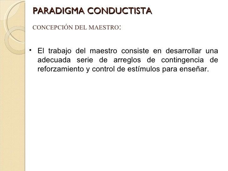 PARADIGMA CONDUCTISTA CONCEPCIÓN DEL MAESTRO : <ul><li>El trabajo del maestro consiste en desarrollar una adecuada serie d...