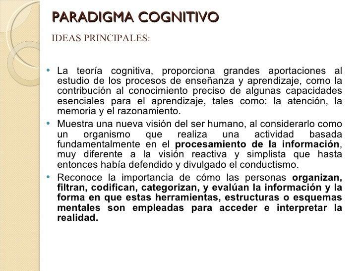 PARADIGMA COGNITIVO <ul><li>La teoría cognitiva, proporciona grandes aportaciones al estudio de los procesos de enseñanza ...