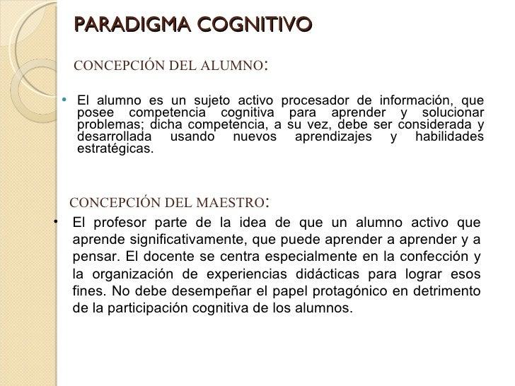 PARADIGMA COGNITIVO <ul><li>El alumno es un sujeto activo procesador de información, que posee competencia cognitiva para ...