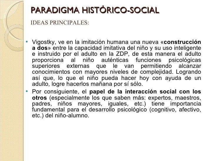 PARADIGMA HISTÓRICO-SOCIAL <ul><li>Vigostky, ve en la imitación humana una nueva « construcción a dos » entre la capacidad...