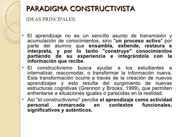 PARADIGMA CONSTRUCTIVISTA <ul><li>El aprendizaje no es un sencillo asunto de transmisión y acumulación de conocimientos, s...