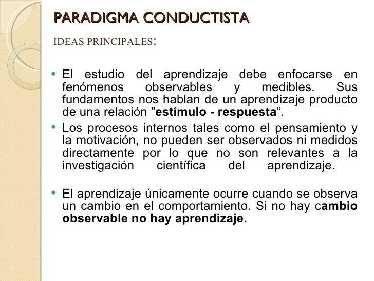 PARADIGMA CONDUCTISTA <ul><li>El estudio del aprendizaje debe enfocarse en fenómenos observables y medibles. Sus fundament...