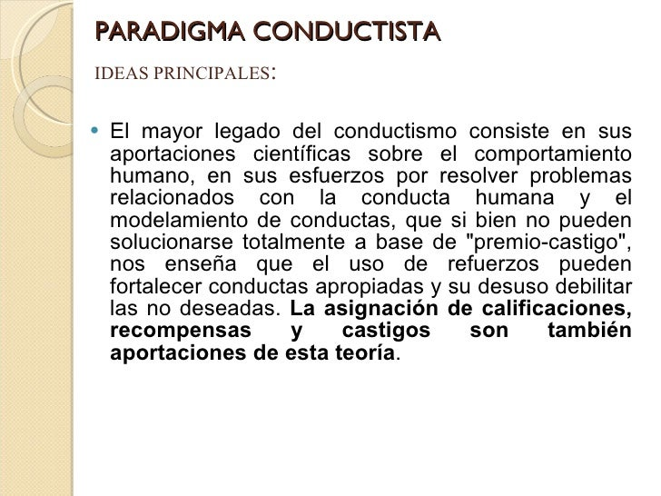 PARADIGMA CONDUCTISTA <ul><li>El mayor legado del conductismo consiste en sus aportaciones científicas sobre el comportami...