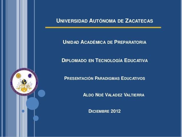 UNIVERSIDAD AUTÓNOMA DE ZACATECAS  UNIDAD ACADÉMICA DE PREPARATORIA DIPLOMADO EN TECNOLOGÍA EDUCATIVA  PRESENTACIÓN PARADI...